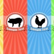 Farm animals food labels — Imagen vectorial