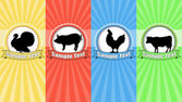 Farm animals food labels — Stock Vector