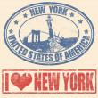 New York stamps — Stok Vektör