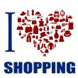 Stock Vector: I love shopping background