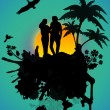 Lovers in a tropical landscape — Stock Vector