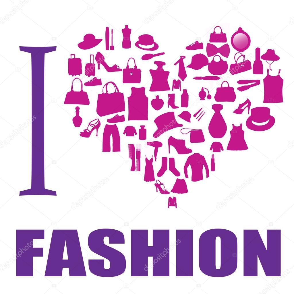 I Love Fashion Background Stock Vector Roxanabalint