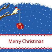 Winter kaart met vogel en gift box — Stockvector