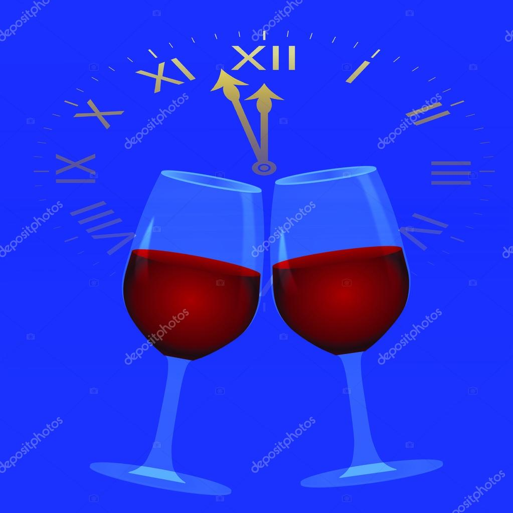 New Year background with clock and wine glasses, vector illustration — Stock Vector #15711059