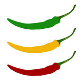 Hot chilli pepper vector set — Stock Vector