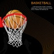 Basketball hoop and ball on abstract background - Stock Vector