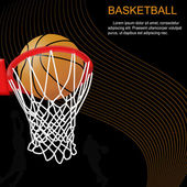 Basketball hoop and ball on abstract background — Stock Vector
