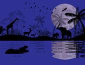 Wild animals in african landscape — Stock Vector
