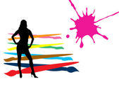 Sexy woman with brushes and color splash — Stockvector