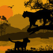 Royalty-Free Stock Vector Image: Silhouette view of panther on a tree