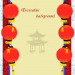 Old paper with asian pagoda and chinese lanterns — Vector de stock