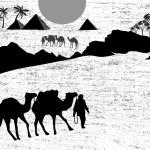 Bedouin camel caravan — Stock Vector