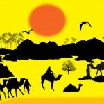 Camels caravan in Sahara — Stock Vector