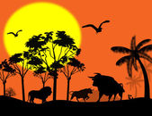 Wild animals in beautiful landscape — Stockvector