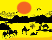 Camels caravan in Sahara — Stock Vector