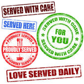Served with care stamp — Wektor stockowy