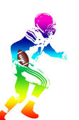 Colorful man figure of a american football player — Stock Vector