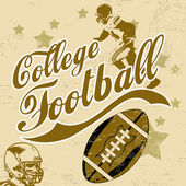 College american football grunge poster — Stock Vector