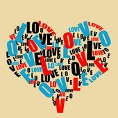 Typografie retro láska srdce — Stock vektor