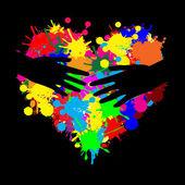 用两只手的油漆飞溅心 — 图库矢量图片