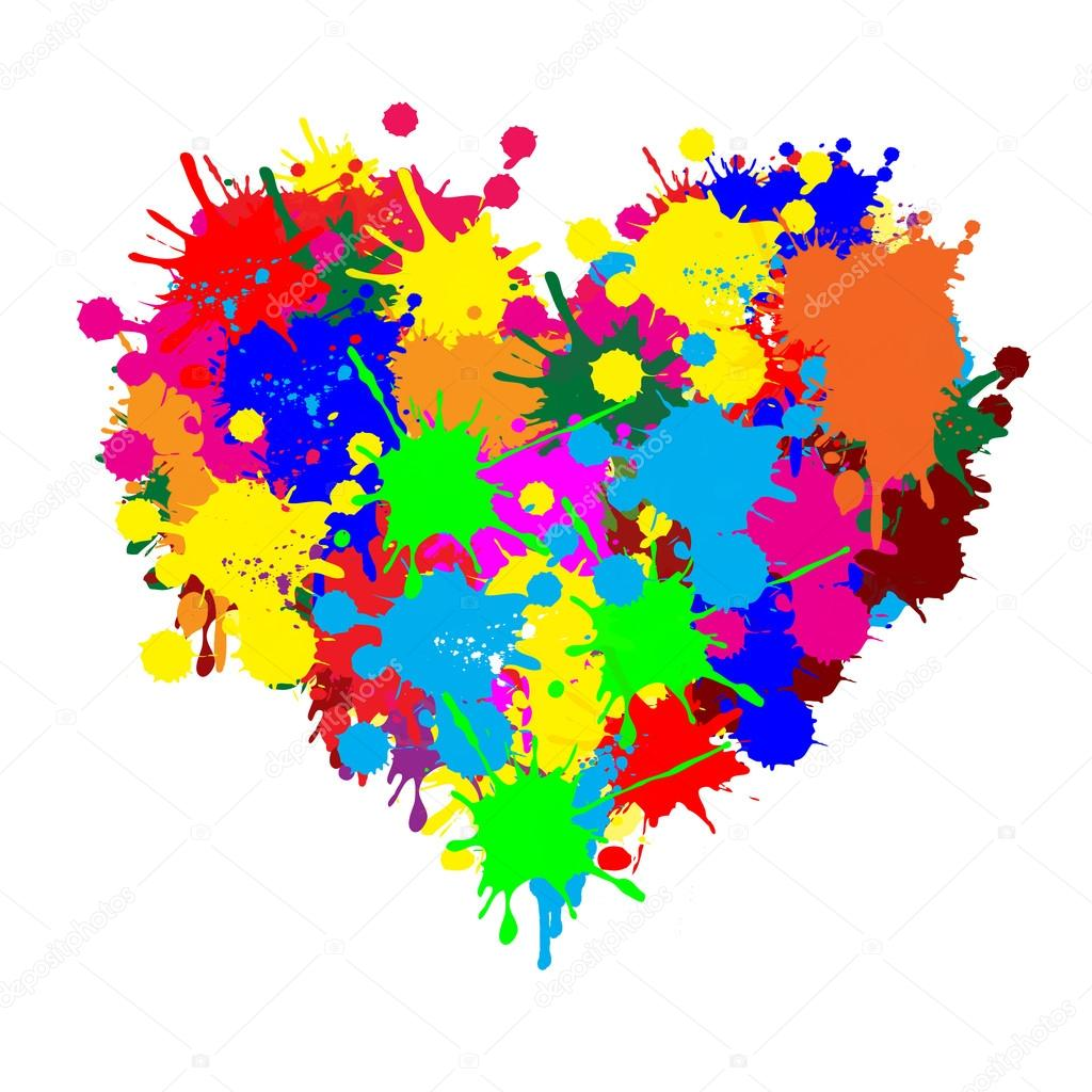 Paint splatter heart stock illustration
