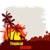 Tropical design grunge poster — Stock Vector