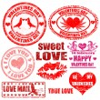 Valentine's Day stamps — Vettoriali Stock