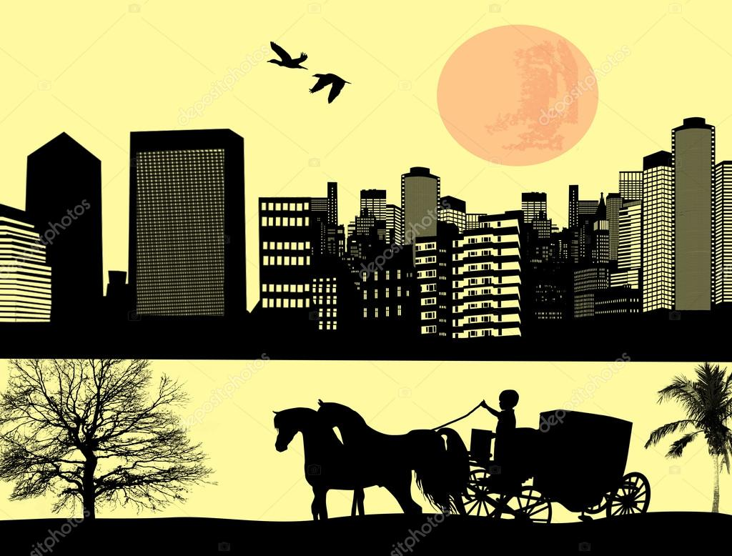 Horse Drawn Carriage Silhouette Two Horse Drawn Carriage on