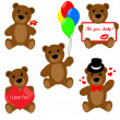Set of Valentine teddy bears — Vettoriali Stock