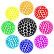 Stock Vector: Set of rainbow colors sphere dot