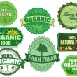 Set of organic and farm fresh food badges and labels — Stock Vector