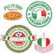 Set of authentic italian food stamp and labels — Stock Vector