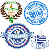 Set of authentic greek food stamp and labels — Stock Vector