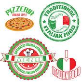 Otantik i̇talyan gıda damga ve etiketleri kümesi — Stok Vektör