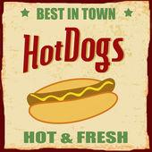 Vintage Hot dog grunge poster — Stock Vector