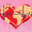 Heart and heartbeat symbol with world map - Stock Vector