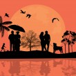 Beautiful landscape and silhouette — Imagen vectorial