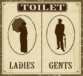 Affiches rétro de toilette — Vecteur