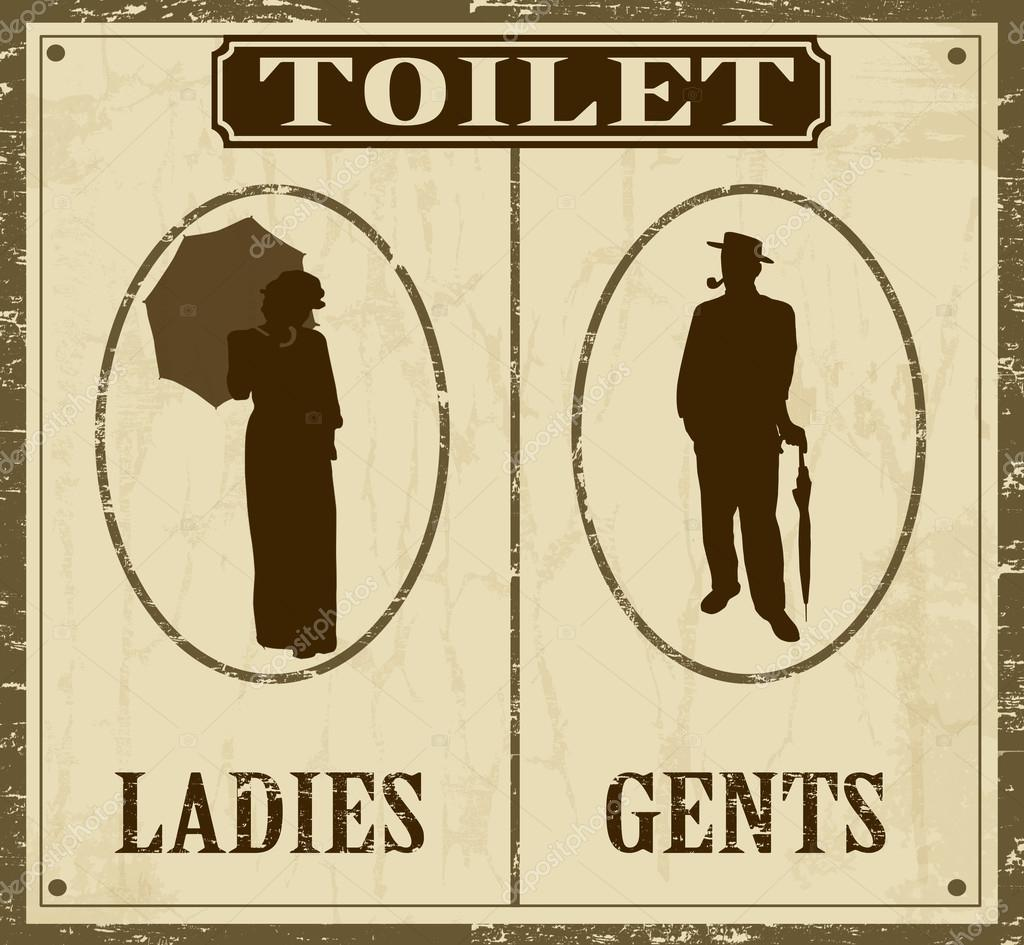 Poster retro WC — Vetor de Stock © roxanabalint #21218399 #3A2202 1024 945