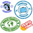 World traveler stamps — Stock Vector