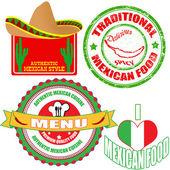Otantik meksika gıda damga ve etiketleri kümesi — Stok Vektör