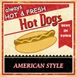 Stock Vector: Vintage Hot dog grunge poster