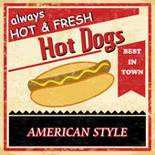 Cartel vintage hot dogs grunge — Vector de stock