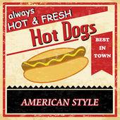 Vintage hotdog grunge poster — Stockvector