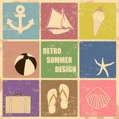 レトロなポスター夏アイコンから作られました。 — ストックベクタ