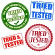 Set of self tried and tested stamps and labels — Stock Vector