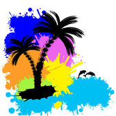 Sfondo tropicale con palme — Vettoriale Stock