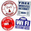 Stock Vector: Wireless Wi-Fi internet stamps