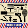 Stock Vector: Vintage barber and hairdresser silhouette set