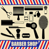 Vintage barber and hairdresser silhouette set — Stock Vector